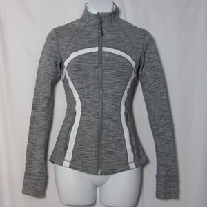 Lululemon Jacket Dark Gray White Size 2 Thumbholes